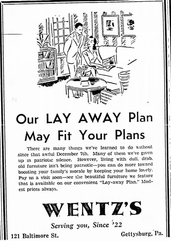 Wentz S Furniture Store Layaway Store Newspapers Com