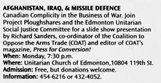 COAT re Afghanistan, Iraq & Missile Defence RS speaking tour -