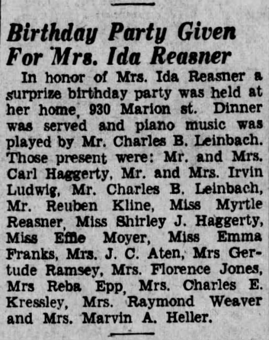 Ida Reasner birthday party. -