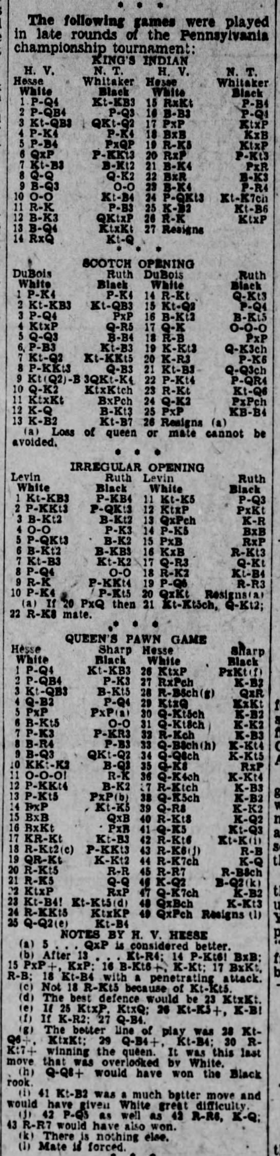 1933 PA State Championship; Hesse-Whitaker, N. T., DuBois-Ruth, Levin-Ruth, Hesse-Sharp, S. T. - e - The following games were played in i&ie...