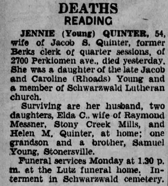 Obituary of Jennie L. (Young) Quinter, from the Reading Times 1 May 1936 Page.34 -