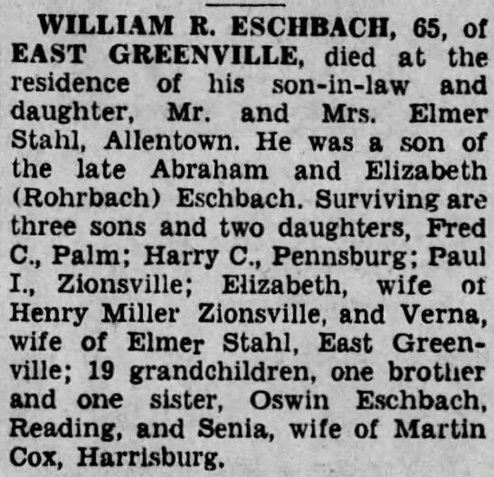 Eschbach, William (obituary) -
