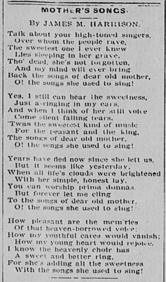 Mother's Songs poem by JM Harrison - Newspapers com