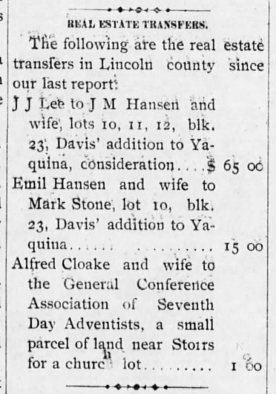 Alfred Cloake and wife donate a small parcel near Storrs for a church lot  -