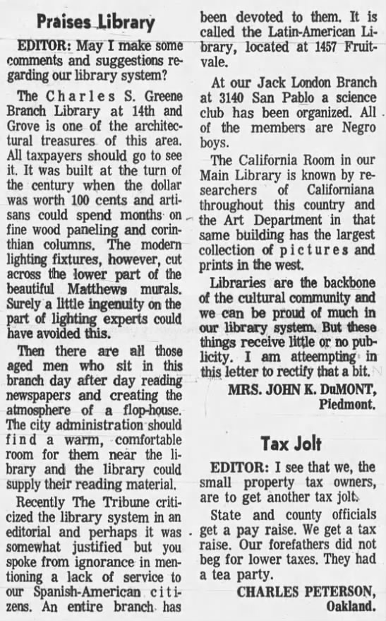 praise for libraries - Jack London Branch -