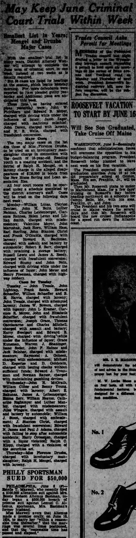 1933-06-07 - James William Bowers - Reading Times p 3 col 1 - Bigamy Charge -