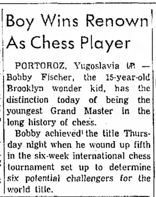 Boy Wins Renown As Chess Player -