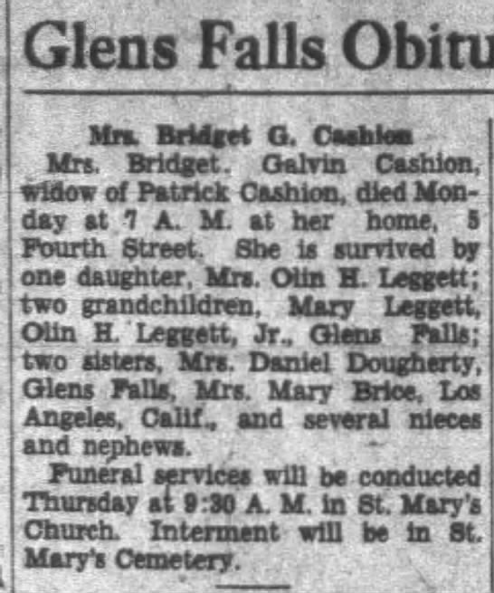 Obit of Bridget (Galvin) Cashion -