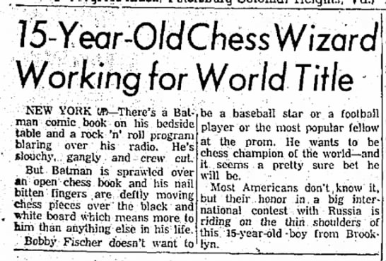 15-Year-Old Chess Wizard Working for World Title Column 1 -