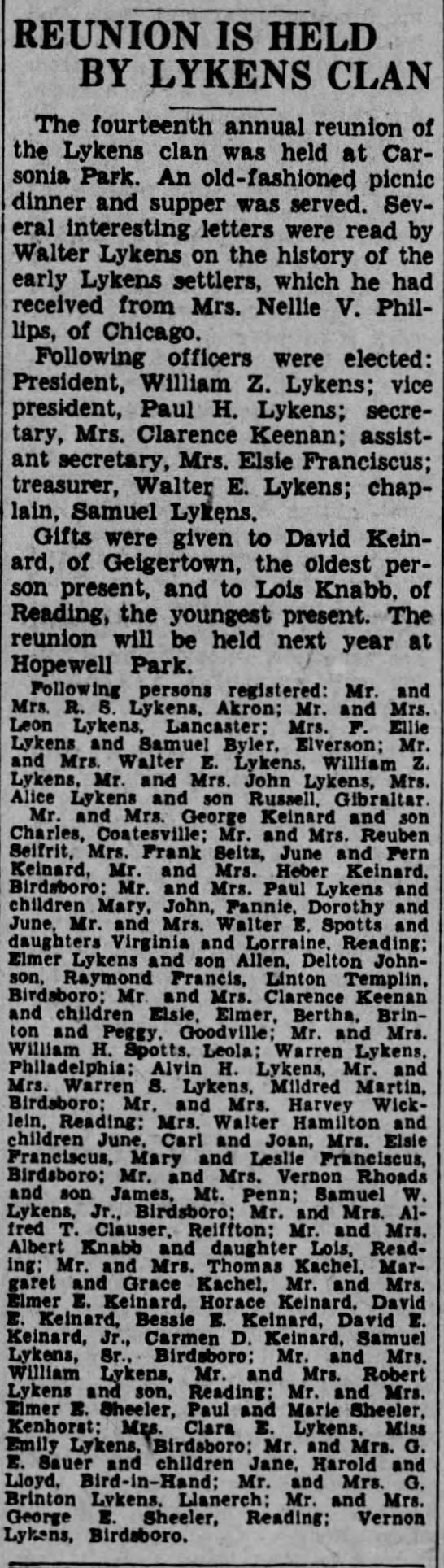 LYKENS REUNION. 1938 - REUNION IS HELD BY LYKENS CLAN The fourteenth...