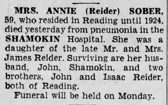 Annie Reider 1938