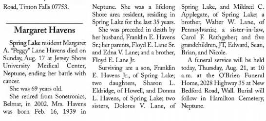 Obituary Margaret Havens The Coast Star 21 Aug 2008, Thu Page 57 -