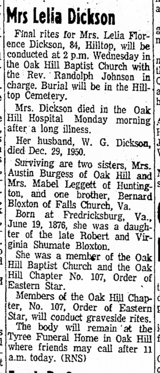 16 May 1961, Raleigh Reg, Beckley, WV - Lelia B. Dickson - d/o RJ & V Shumate B -