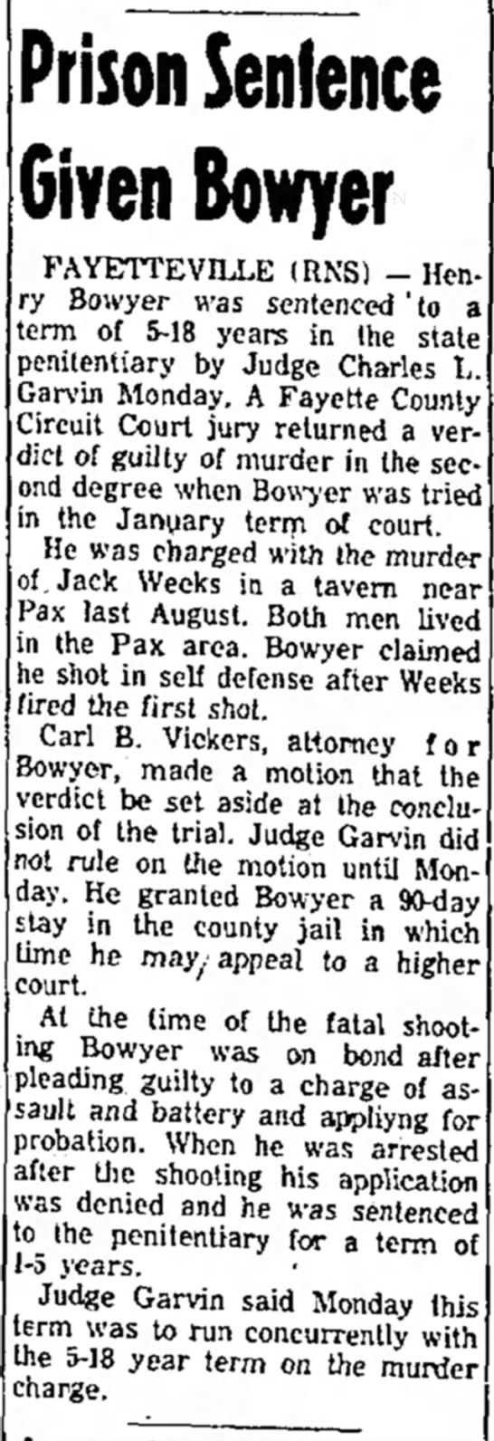Henry Bowyer Prison Sentence May 16 1956 -