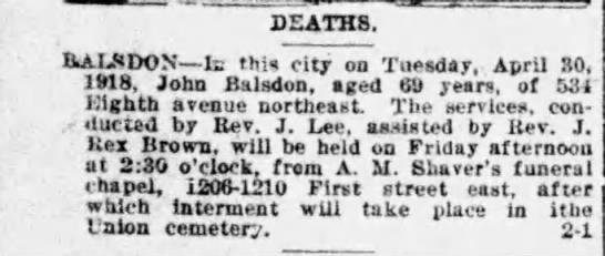 Death Announcement - John Balsdon -