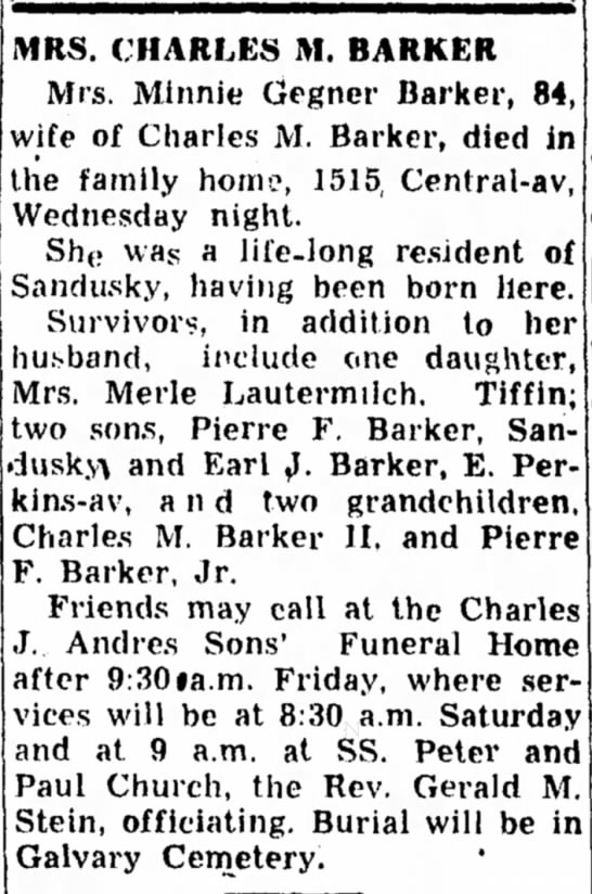 Minnie Barker obit 23 Sept 1954 -
