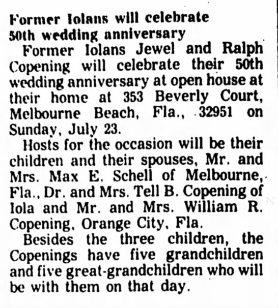 Jewel and Ralph Copening 50th Wedding Anniversary Announcement; The Iola Register July 13 1978 -