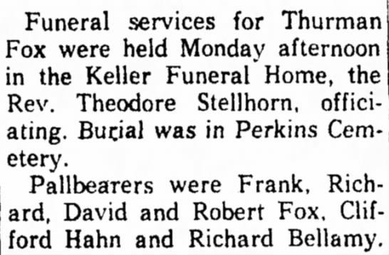 Dec 29  1958 Sandusky Register notice of funeral for Thurman Fox -
