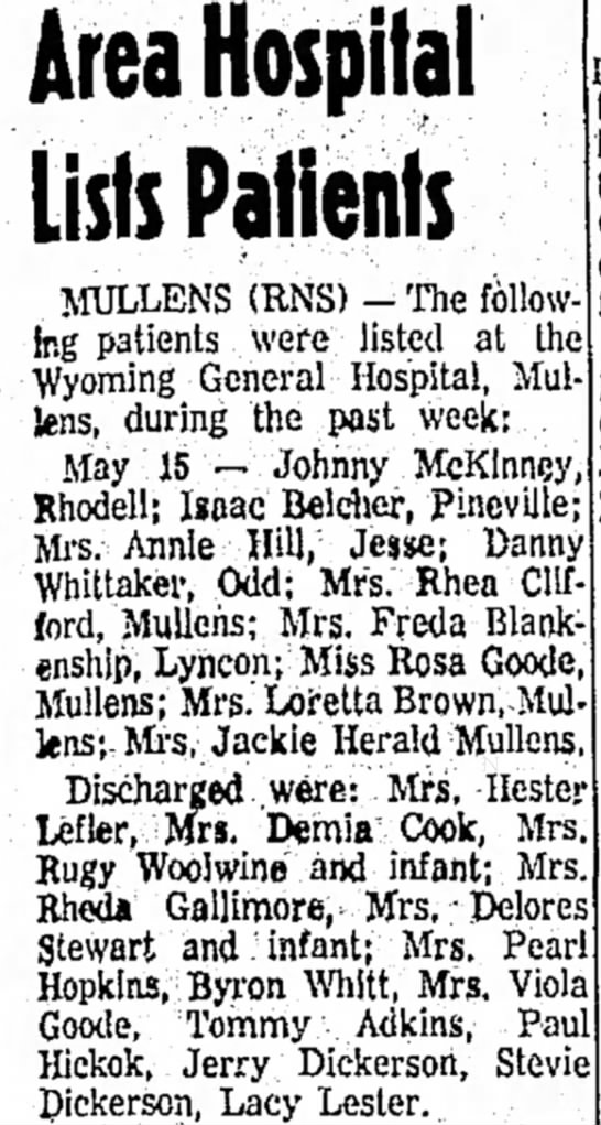 Rugy Woolwine - Area Hospilal Lists Patients MULLENS (RNS) -...