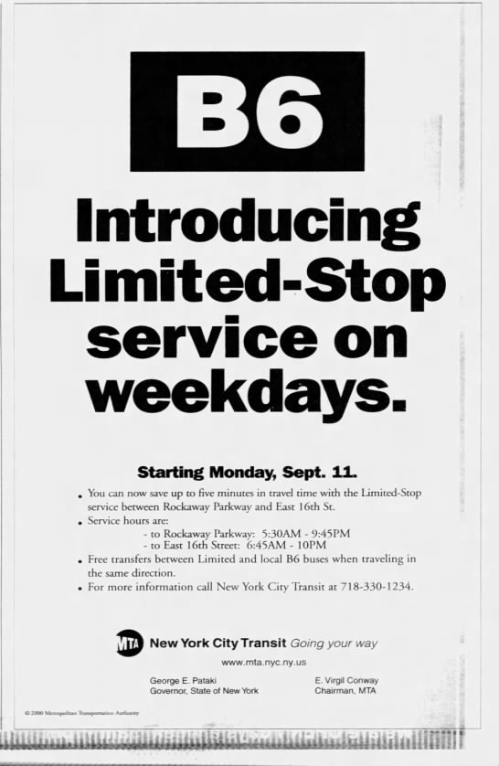 B6 Introducing Limited-Stop service on weekdays. -