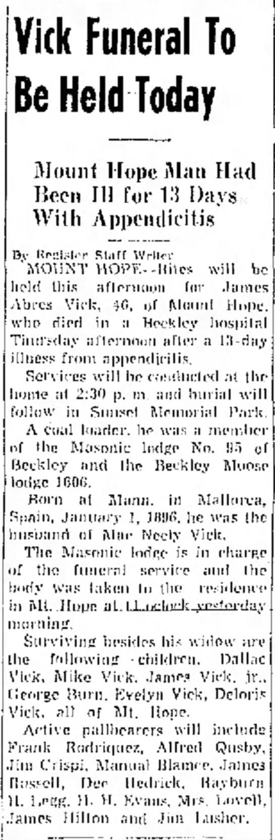 James Llabres Vick Funeral Notice -