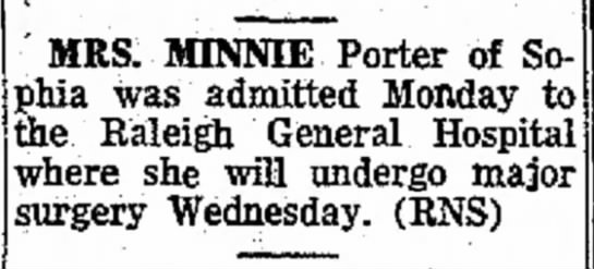 Minnie Porter my Great Grandmother Oct 25th 1966 -