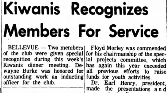 DeWayne Burke Sandusky Register 24 Dec 1964 -
