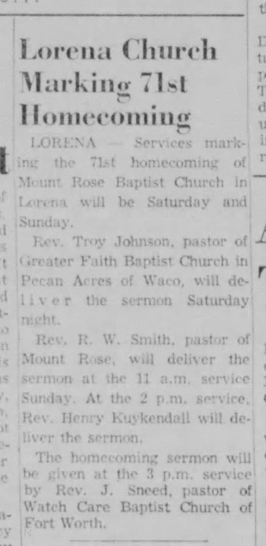Johnnie A Sneed, Sr-sermon at Lorena Church -