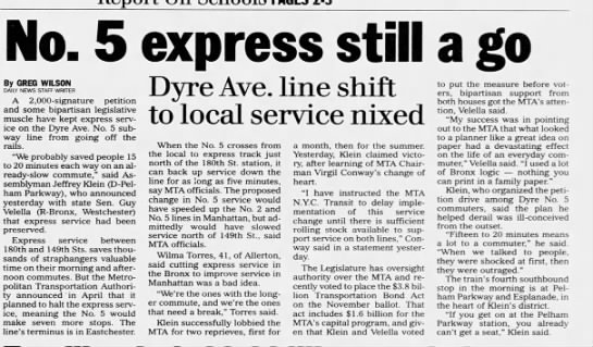 No. 5 express still a go: Dyre Ave. line shift to local service nixed -