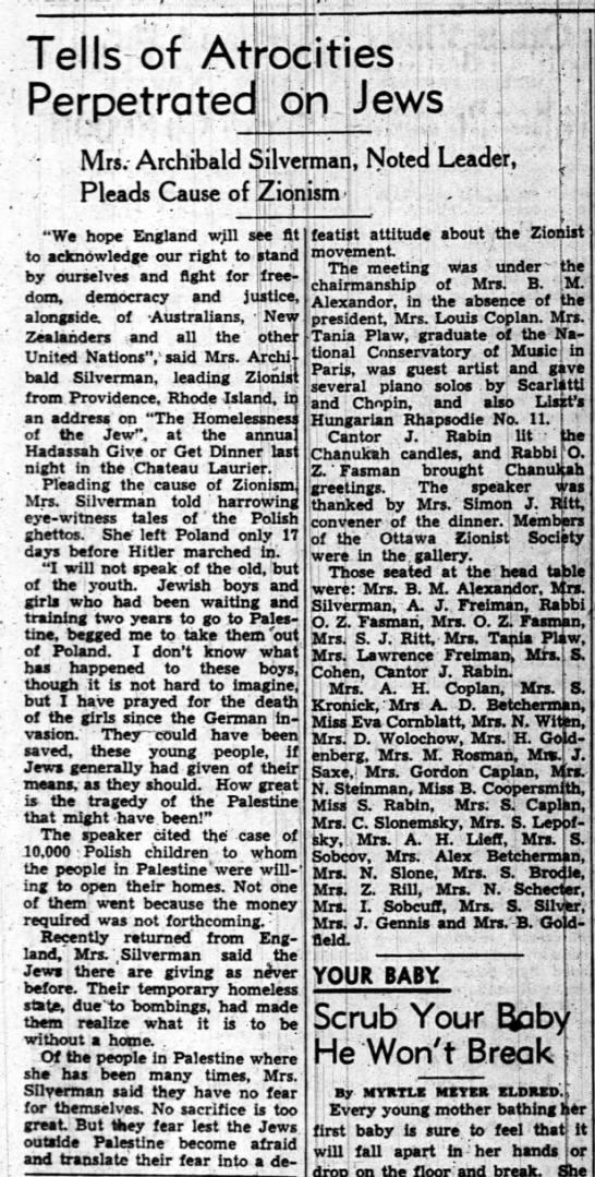 Tells of Atrocities Perpetrated on Jews, The Ottawa Journal (Ottawa, Canada) 9 December 1942, p 7 -