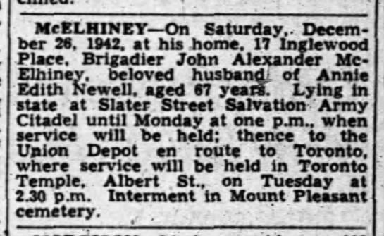 John McElhiney Obituary Dec 1942 -