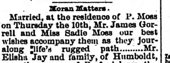 Marriage JH Gorrell Sadie Moss - IXbian Hatters. Married, at the residence of P....