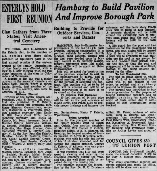 Esterlys Hold First Reunion July 6 1932 -