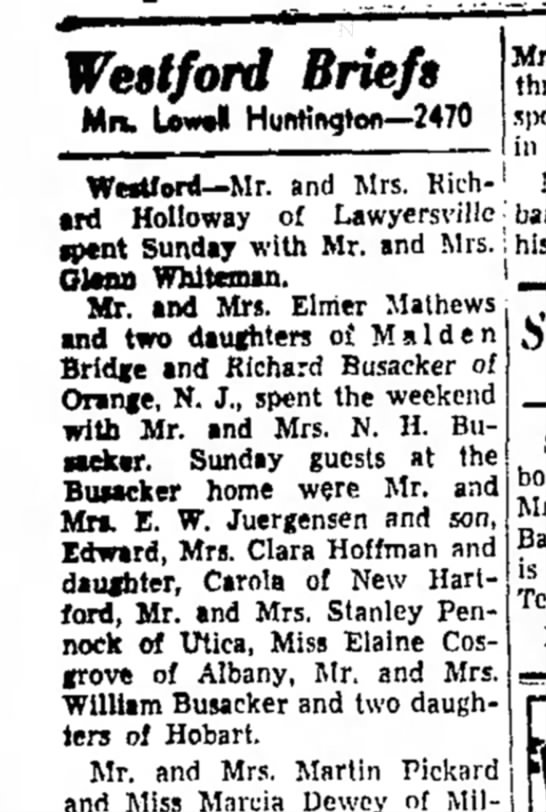 Juergensen visit to Busackers, The Oneonta Star, 1 Oct 1948 -