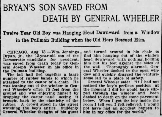 William Jennings Bryan's Son Saved From Falling Out Window While Playing -