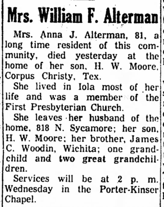 Obit of J.C. Woodin's sister -