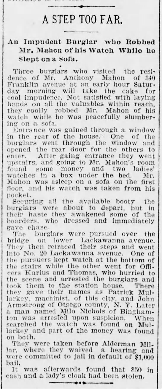 Burglars and Anthony Mahon Franklin Ave Scr Rep Apr 17 1899 pg 2 -