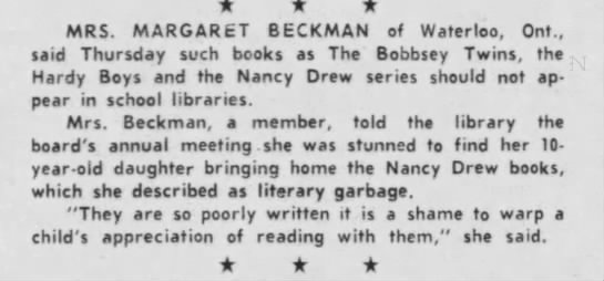 Canadian woman says series books like Nancy Drew should be banned from school libraries, 1964 -