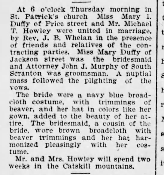 Michael T Howley and Mary I Duffy Marry Scr Republican Sep 9 1899 pg 3 -