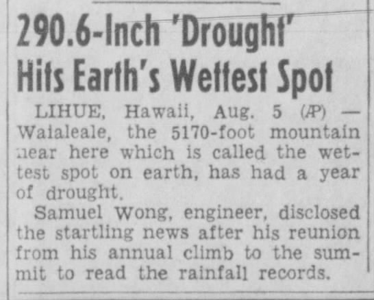 Samuel Wong - Lihue Hawaii - August 6 1951 - Pottstown Mercury Pottstown PA August 6 1951 -