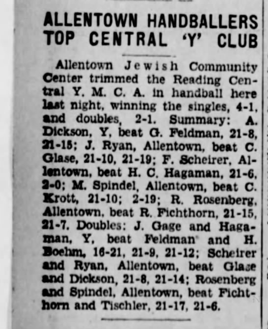 Allentown Jewish Community Center beats Reading Central YMCA, 1935 - ALLENTOWN HANDBALLERS TOP CENTRAL T CLUB...