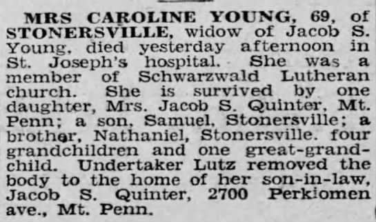 Obituary of Caroline E. (Rhoads) Young, from the Reading Times 30 Jan 1930 Page.2 -