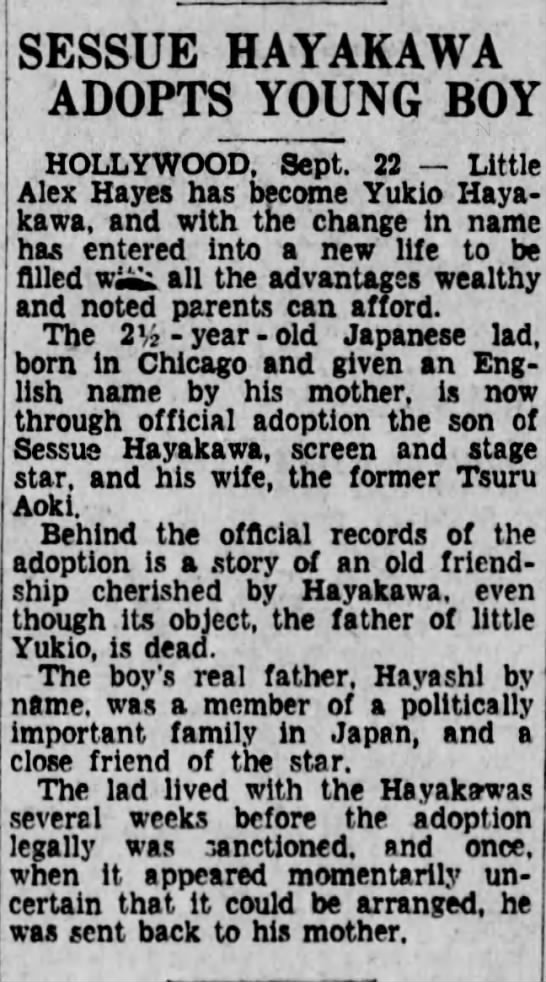 Hayakawa adopts young boy -