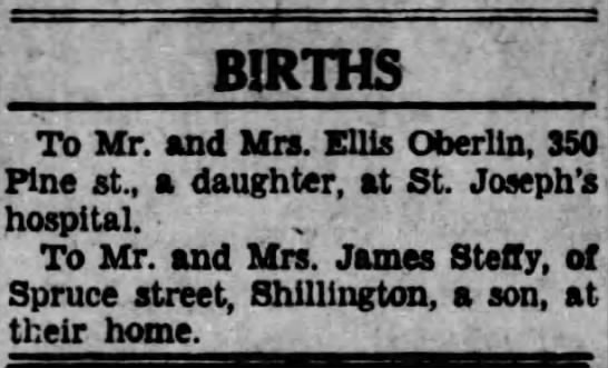 Dad's Birth Announcement, the Reading Times, 27 Apr 1934 -