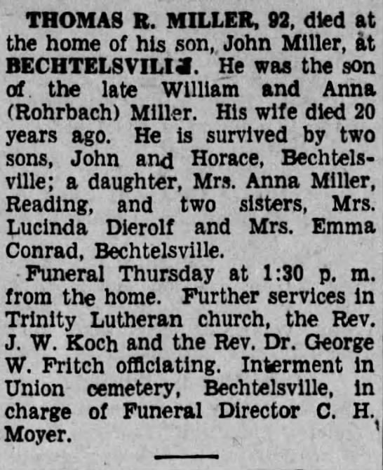 - THOMAS R. MILLER, 92, died at the home of his...