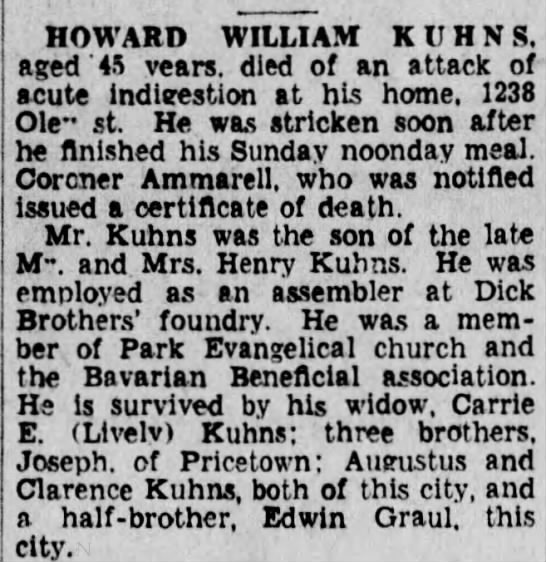 Howard William Kuhns, son of Henry K. Kuhns. -