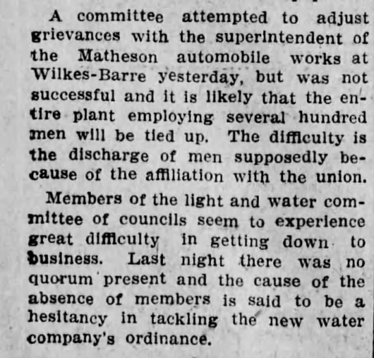 Matheson Automobile Co. - A committee attempted to adjust grievances with...
