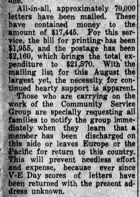 By August 1945, C.S.G. was sending nearly 800 letters a week -
