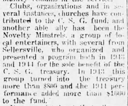 Clubs, organizations and churches contribute to C.S.G. -