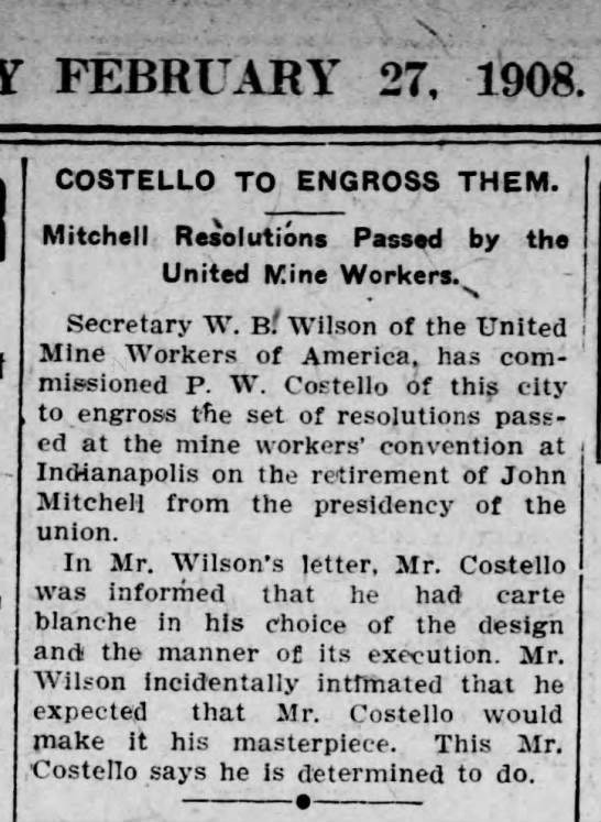 PWC To Engross John Mitchell UMW Resolutions Scr Rep Feb 27 1908 pg 5 -